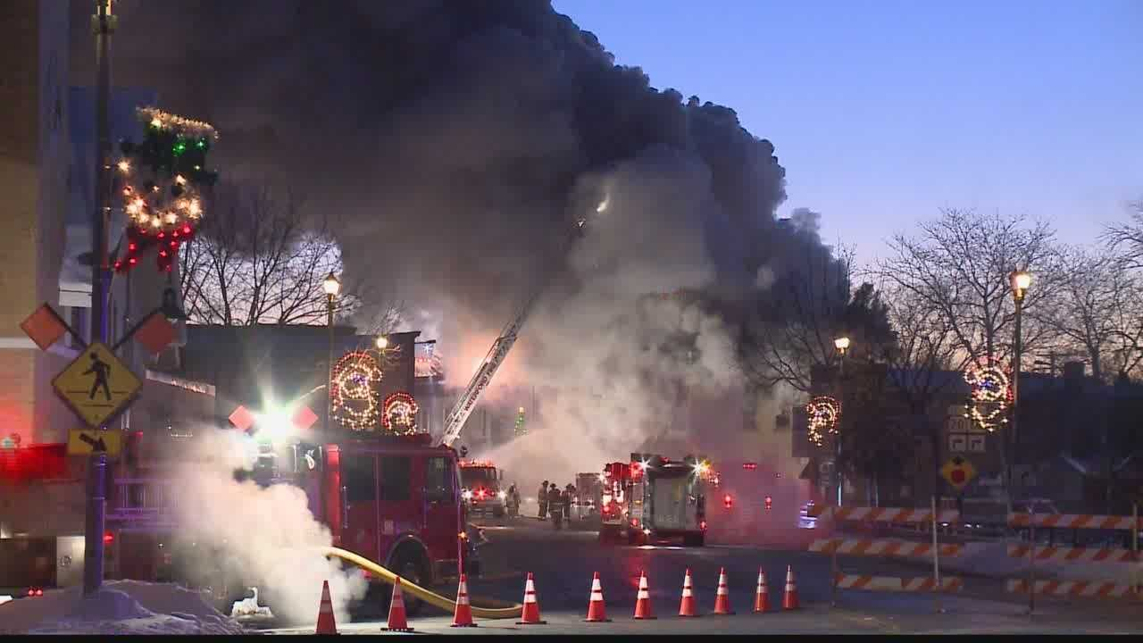 A four-alarm fire destroys a favorite Waterford building.