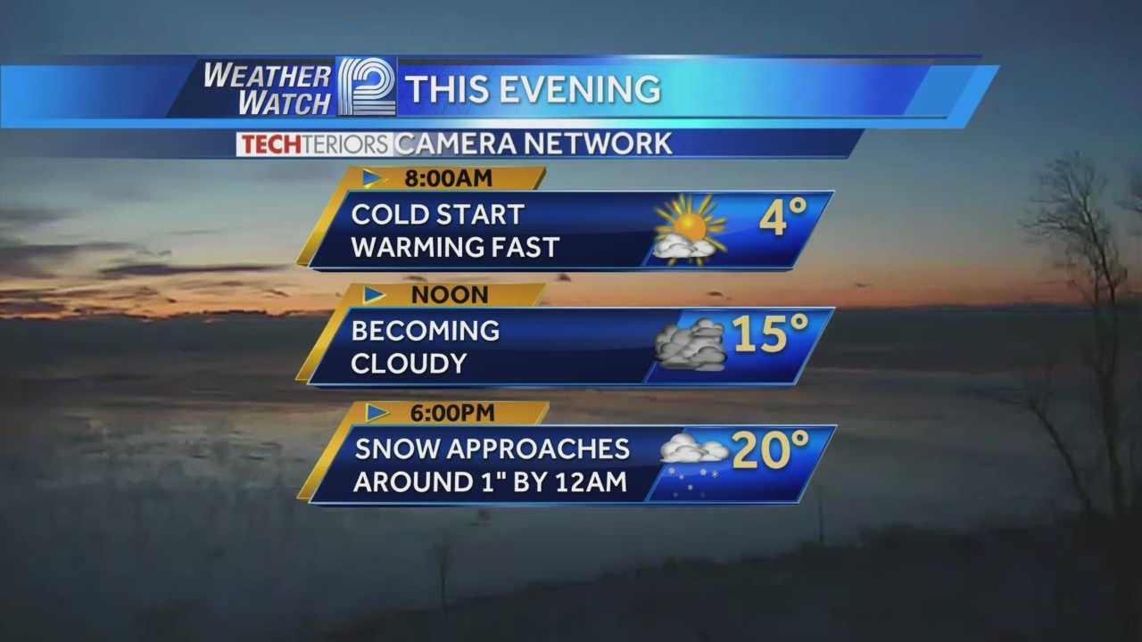Friday warms quickly, but brings snow this afternoon