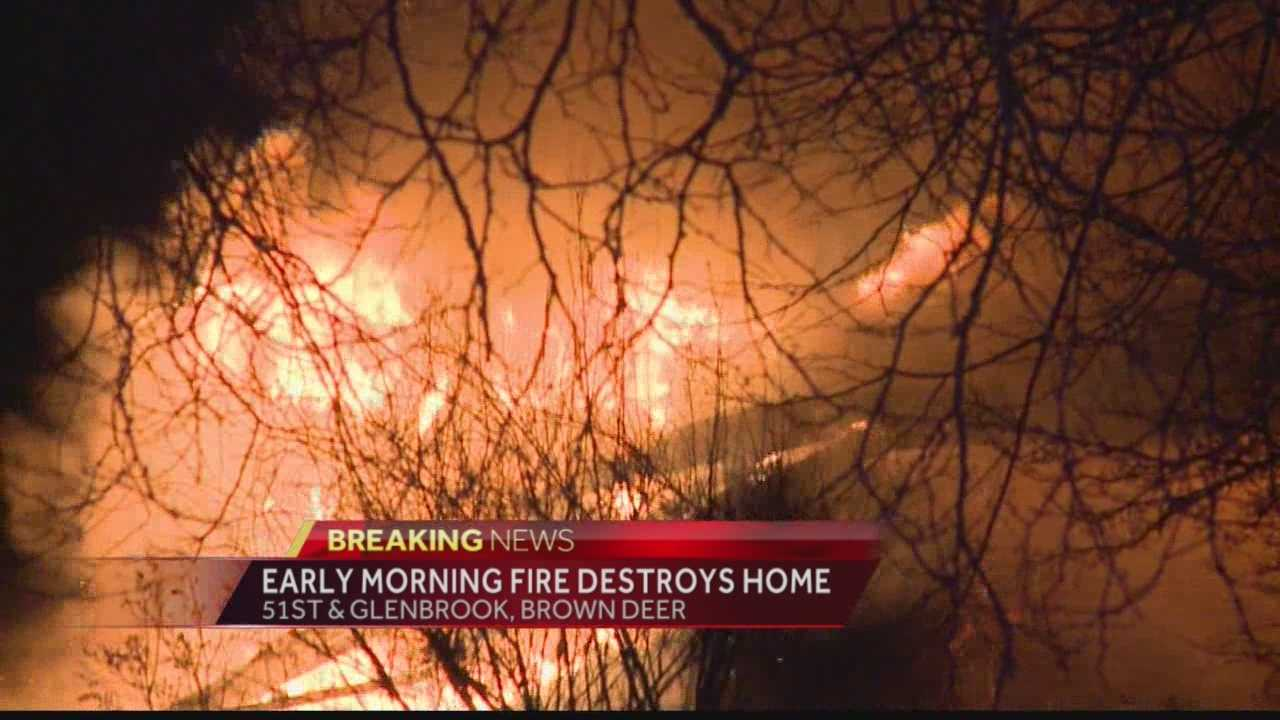 A vacant home in Brown Deer went up in flames early Friday morning.