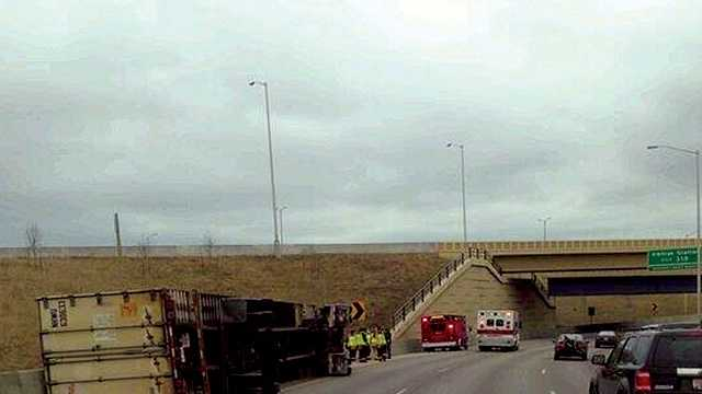 Tractor-trailer tips over on freeway in Greenfield