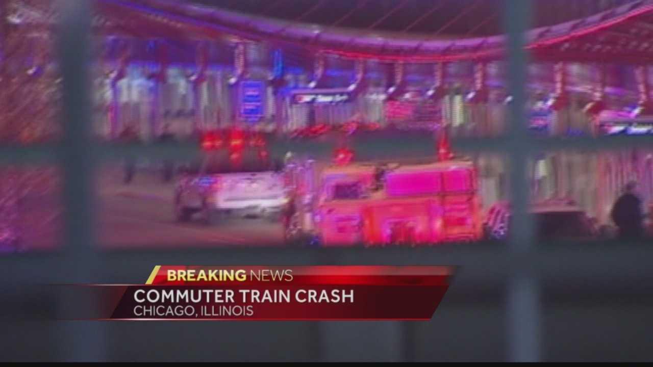 Chicago commuter train crashes into O'Hare escalator