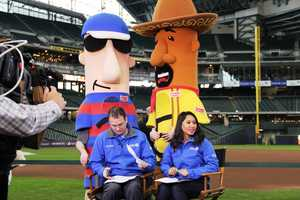 12 News anchors Patrick Paolantonio and Marianne Lyles broadcast from the field on Opening Day.