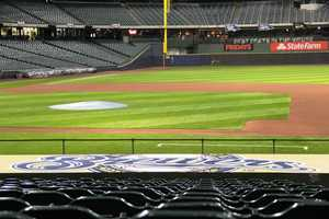 Looking out from above the Brewers dugout.