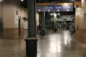 The concourse is pretty empty at 5am, but will start filling up when gates open at 11am.
