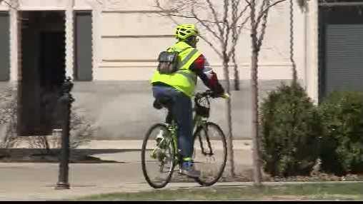 person riding bike in Racine