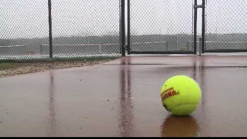 wet tennis court