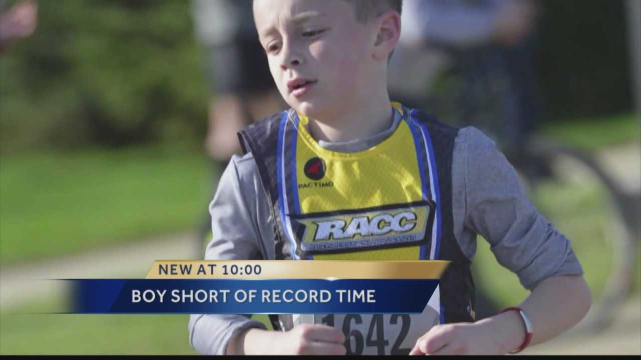 A 10-year-old Kenosha boy was a minute off his world-record pace when he ran the Cellcom Green Bay half-marathon this past weekend.