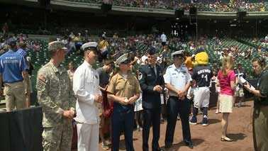 soldiers at Miller Park