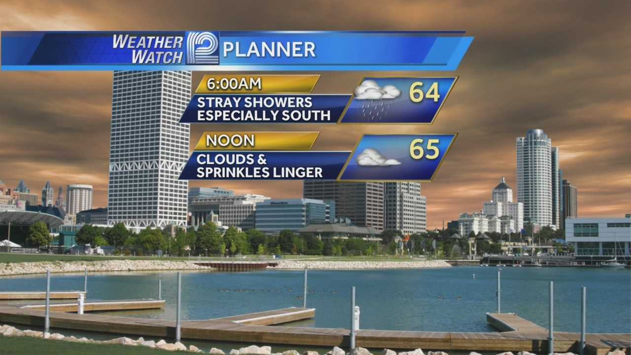 Wednesday morning rain showers will stick near the Illinois border and temperatures will stay in the mid 60s for today.