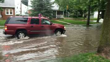 Whitefish Bay street flooding -- near Santa Monica and Shoreland