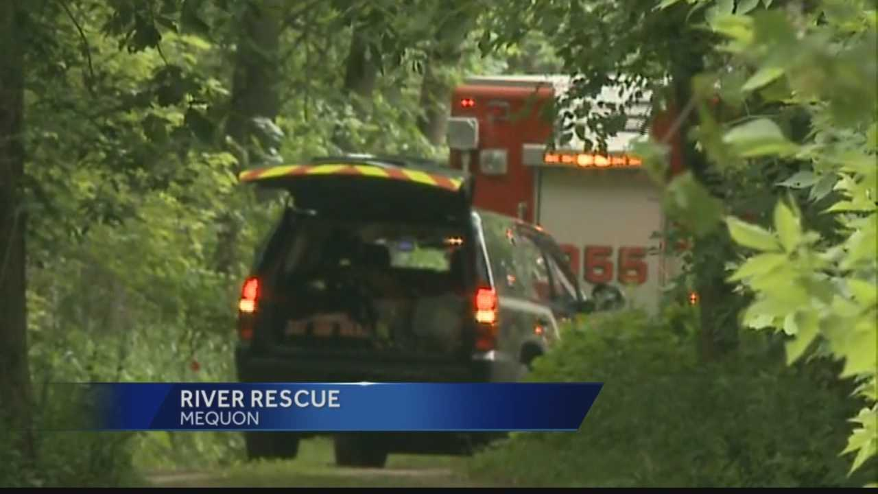 Officials say the victims boat capsized near Pioneer road in Mequon. He is expected to be ok.