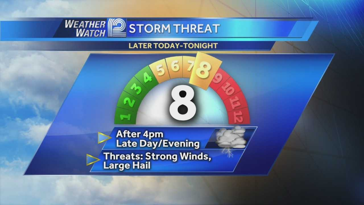 Another round of storms expected late Monday afternoon