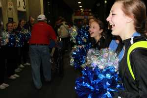 The Oak Creek Poms were on hand to cheer on the vets.