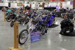 Custom motorcycles also on display