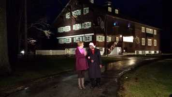 Sally Severson and Mike Anderson outside the Waelderhaus in Kohler.   Inside this replica of an Alpine home, there is an annual gingerbread competition taking place.  Click here to see more of that.