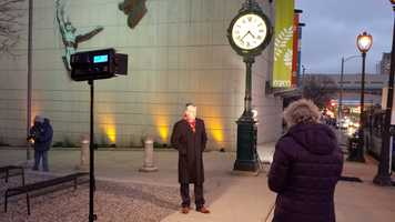 Mike Gousha is outside the Milwaukee Public Museum to introduce Four Guys in Dinner Jackets.
