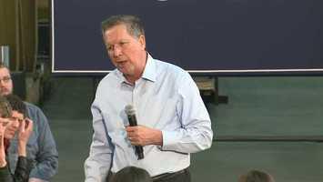 Republican John Kasich spoke at Weldall Manufacturing in Waukesha.
