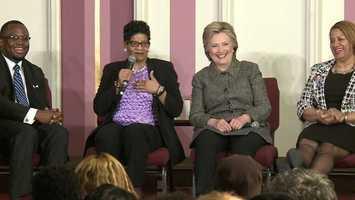 Democrat Hillary Clinton started her day in Milwaukee.