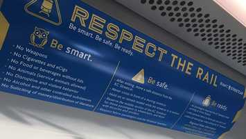 Like you would see on other transportation systems, rules of conduct are posted inside the cars.