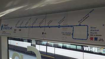 Maps are posted, too. The route is 2.2 miles long, connecting KC's River Market area to Union Station.