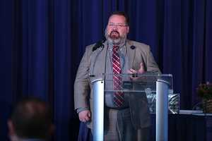 Victor Frasher, the high school branch program manager at Educators Credit Union, addressed the attendees.
