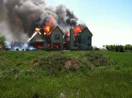A home on Lake Bluff Lane in the Town of Grafton burned to the ground on Wednesday, June 1, 2011.