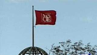 MSOE flag blown by wind - 14517483