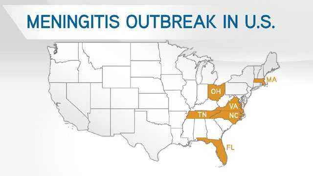 Meningitis outbreak in US map