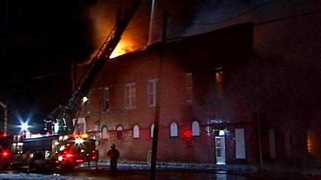 Nearly 100 firefighters rushed to the scene of a fire at a historic building in southern Indiana overnight.