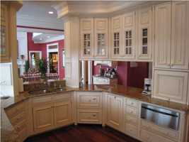 From the kitchen, you can look over directly into the living room.