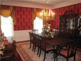 Formal dining room gives a proud feeling of Kentucky living at its best.