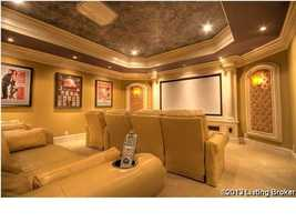 Home theater with comfortable seating for eight.