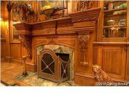 Close up of the fireplace.