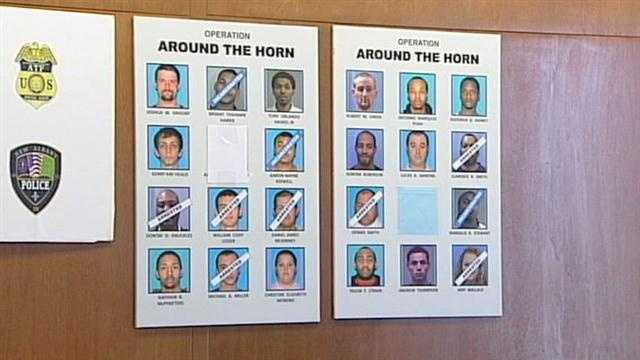 Police identify 40 suspected criminals and arrest half of them during an early morning police operation involving federal and local authorities in New Albany.