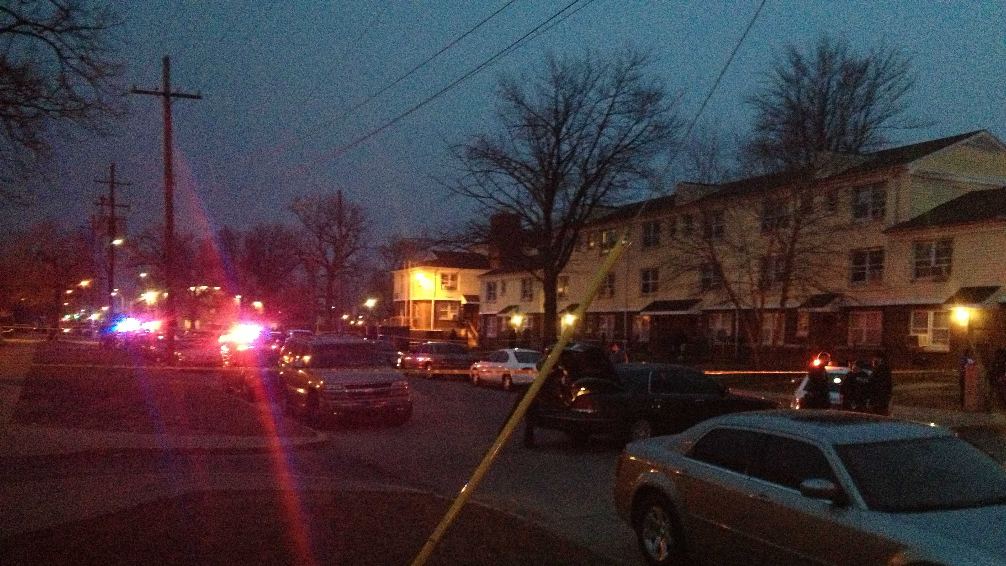 Two people were taken to the hospital for treatment after a shooting at a Louisville housing complex.