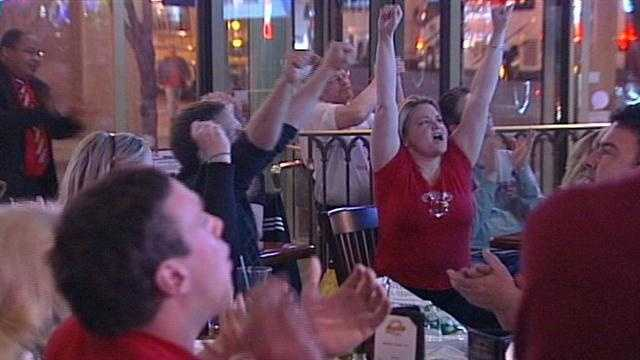 Fans in Louisville on Saturday night were beaming with pride after the Cardinals win over Wichita State in the Final Four.