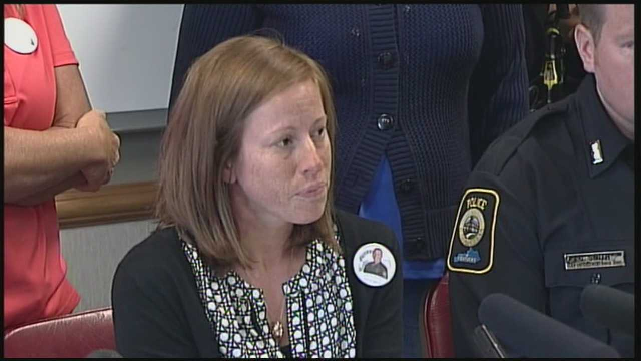 The widow of an ambushed Bardstown police officer made her first public comments since her husband was gunned down Saturday.