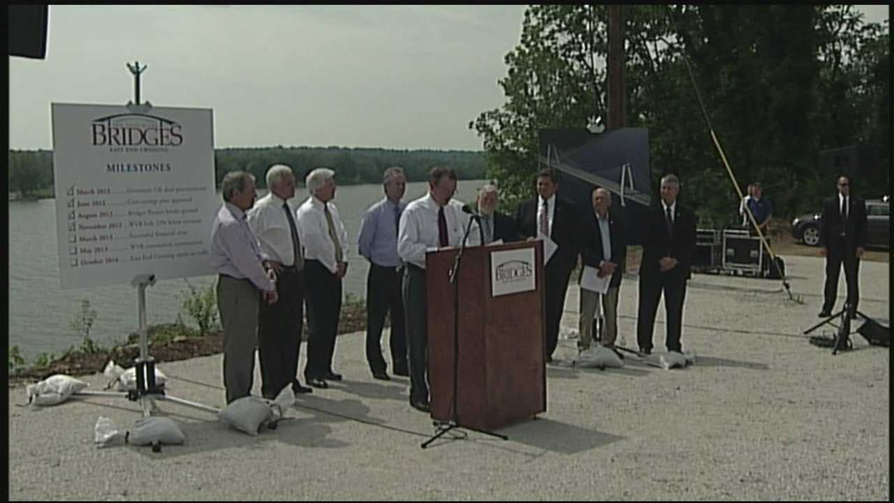 Indiana Gov. Mike Pence says a new Ohio River bridge just east of Louisville, Ky., will be completed under budget and on time.