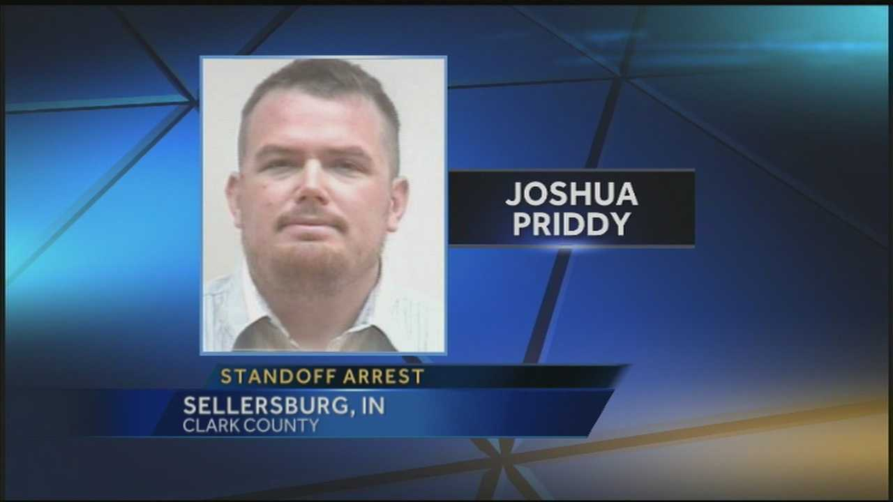 Former Louisville firefighter Joshua Priddy is appearing in court after police say he shot an officer in the knee and killed a police dog.