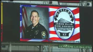 June 18, 2013: Officer Jason Ellis' family was on hand at Great American Ball Park Tuesday night as part of Police Officer Appreciation Day.