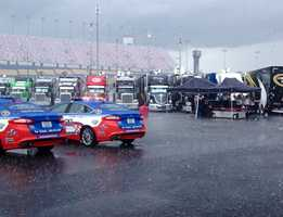 Officials have postponed the NASCAR Sprint Cup race, rescheduling the event for noon Sunday.
