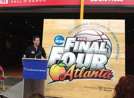In a press conference Tuesday, Northwestern Mutual, which acquired the floor, announced it will donate the center court logo portion of the floor to the University of Louisville to hang in the KFC Yum Center.
