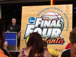 A replica of center court was displayed Tuesday in the lobby of the KFC Yum Center.