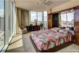 Breathtaking panoramic views from this corner bedroom. There are two bedrooms total in the home.