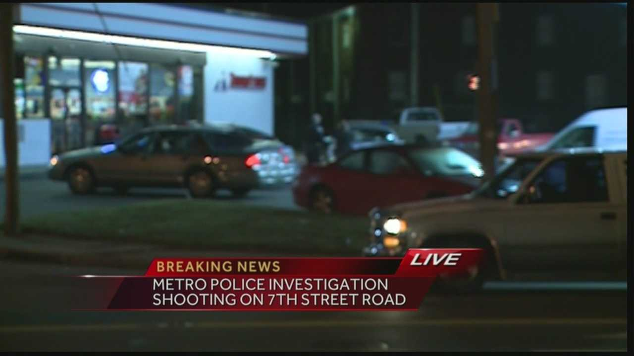 An investigation is underway after a person showed up to Thornton's on 7th Street Road suffering from a gunshot wound.