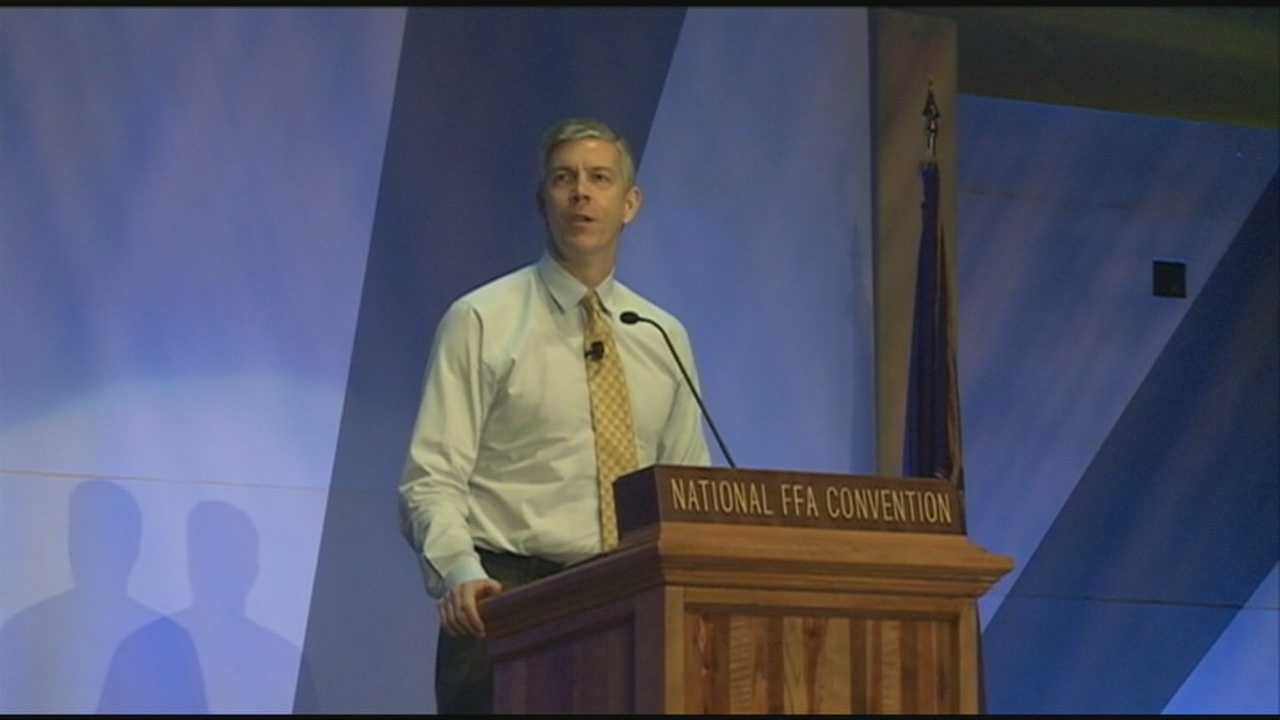 U.S. Secretary of Education Arne Duncan was in Louisville Friday speaking to thousands of students attending the National Future Farmers of America convention.