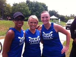 Ann Bowdan, Lexy Scheen and producer Erin Gritton at the Dare to Care charity rowing event.
