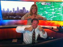 Vicki and Jay goofing off in the weather center