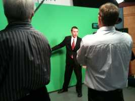 Jared in chromakey during a photo shoot.