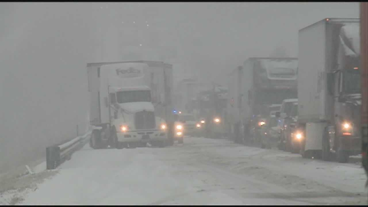 Wintry weather leads to messy roads, long travel delays